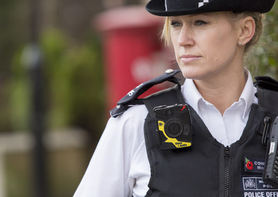 London Metropolitan police officer wearing the Axon body camera