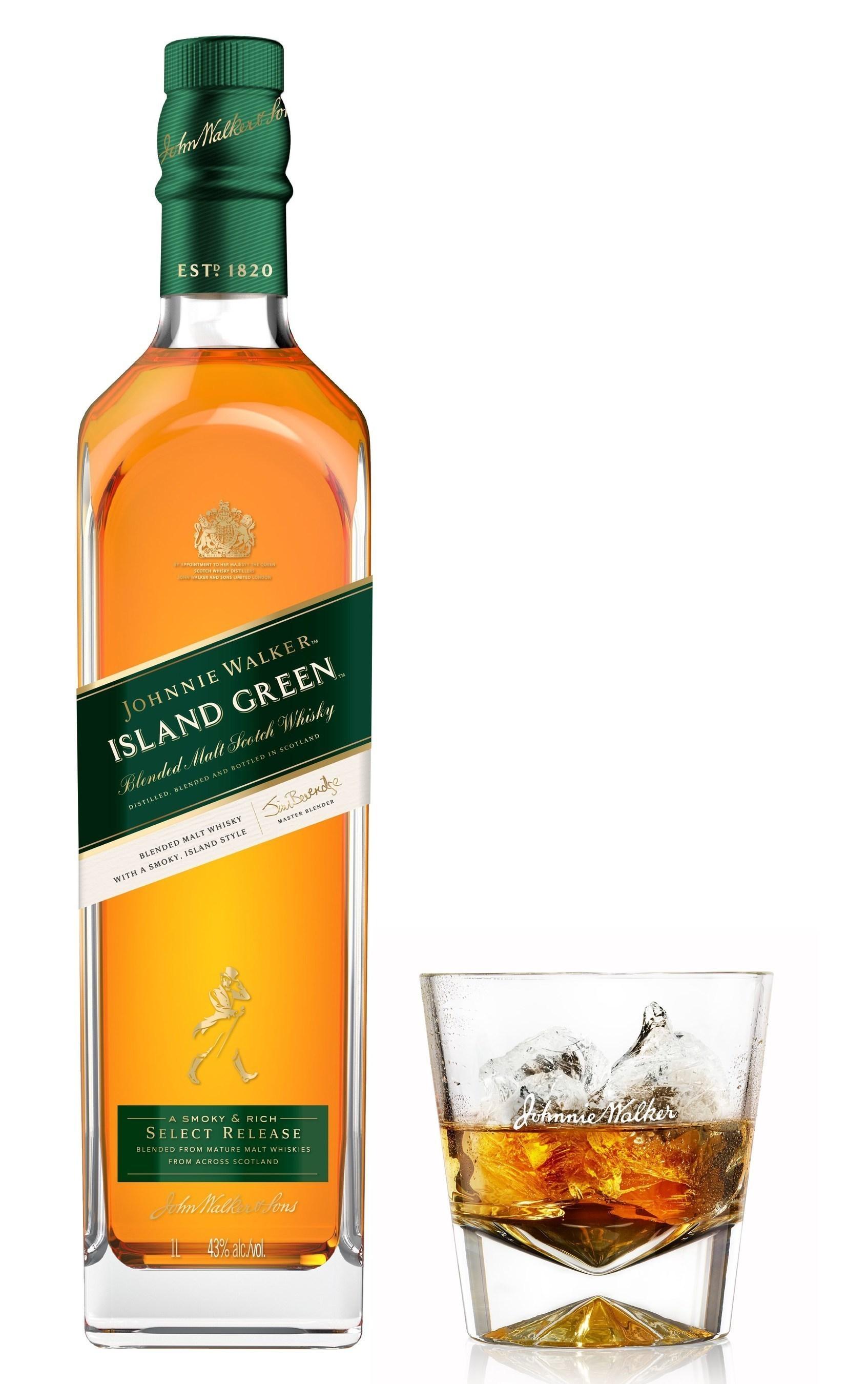 Johnnie Walker Island Green Bottle and Glass (PRNewsFoto/Diageo GTME)