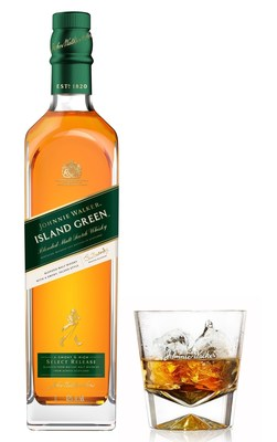 Johnnie Walker Island Green Bottle and Glass (PRNewsFoto/Diageo GTME)