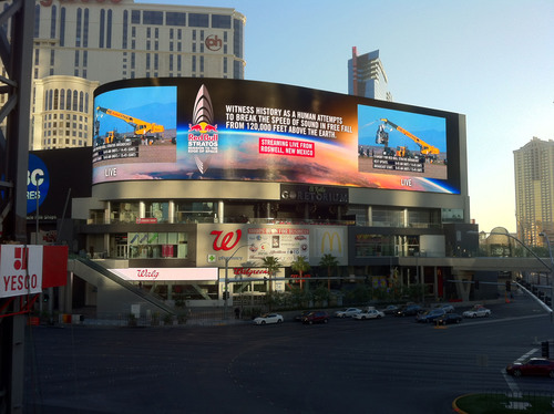 YESCO provides the world's highest resolution LED screen to support and display the variety of brands housed within this Las Vegas Boulevard development.  (PRNewsFoto/YESCO)