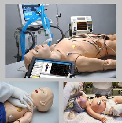 Clockwise from top: Gaumard's HAL S3201 Advanced Tetherless Patient Simulator, 1 Year Old Pediatric HAL and Newborn Tory