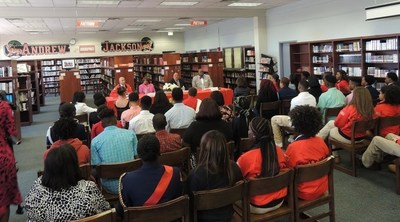Students at Andrew Jackson High School along with the City Year AmeriCorps Florida Blue Team serving Andrew Jackson High School, participated in a town hall conversation with Mr. King and Congresswoman Corrine Brown.