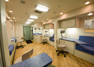 Promerica Health offers a full fleet of customizable vehicles to deploy health and wellness engagements, including 40-foot mobile health screening units. The interior houses up to six private screening areas with state-of-the-art medical equipment, offering patients a private and comfortable environment.