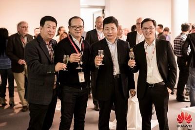 Mr. Kevin Tao, Vice President of Huawei Corporate Quality, Process & IT; Mr Vincent Pang, President of Huawei Western European Region; Mr Richard Yu, CEO of Huawei Consumer BG; Mr Richard Ren, President of Huawei Western Europe Consumer BG at the celebration ceremony. (PRNewsFoto/Huawei) (PRNewsFoto/Huawei)