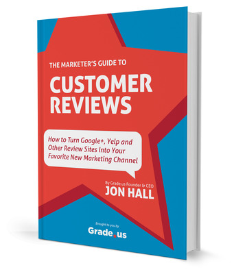 "New book by Grade.us founder Jon Hall teaches marketers and business owners to put online reviews to work for them. The Marketer's Guide to Customer Reviews is available from Amazon in a Kindle Edition for $2.99 (http://www.amazon.com/dp/B00EN81DMO ) or from Grade.us to those who ""pay"" with a tweet or who signup to try the service (https://about.grade.us/guide ).  (PRNewsFoto/Grade Us, Inc.)"