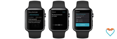 Actionable Care Reminders and Tap & Talk Health on The Diary for Apple Watch allow users to dictate their symptoms and vitals directly into their device, and also to receive reminders so they can effectively follow their care and prescription plans.
