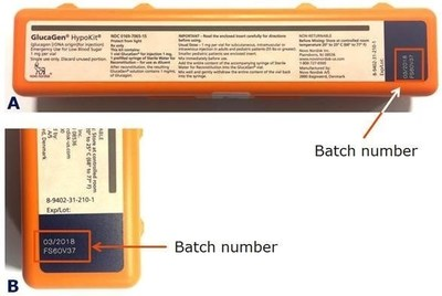 Figure 1. A) GlucaGen(R) HypoKit(R) where the batch number is found in the red box, B) close up of the batch number.