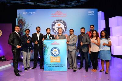 Making history...(from left) Ram, Tharment, Mugilan, Swapnil, Henry, Rajamani, Ravikumar, Dev, Nara & Sarala at the Guinness Records Presentation
