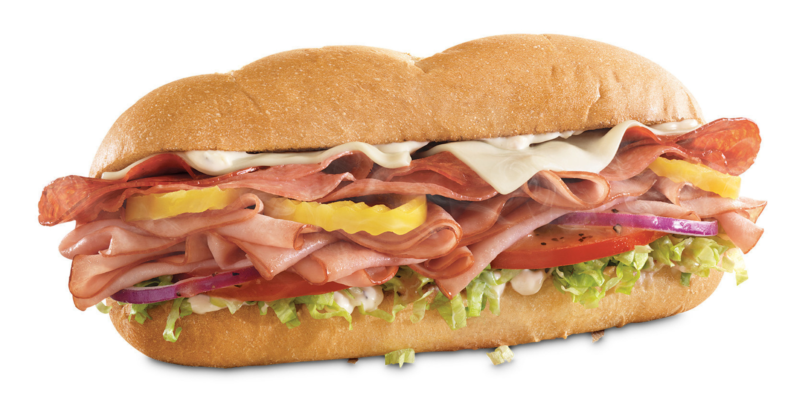 Arby's new Loaded Italian Sandwich featuring thinly-sliced ham, salami and pepperoni with melted cheese, banana peppers, shredded lettuce, tomato and red onion, with red wine vinaigrette and garlic aioli on a toasted Italian style roll.