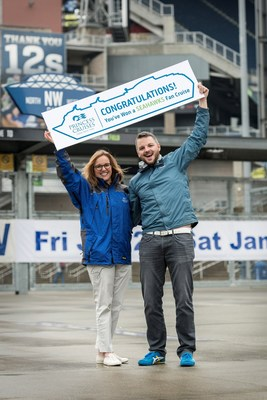 Sailing with the Seahawks - Princess Cruises Vice President Lisa Syme presents Seahawks Super fan PJ LeDorze with an invitation to join the first-ever Seattle Seahawks fan cruise departing from Seattle to Alaska over Father's Day in June.