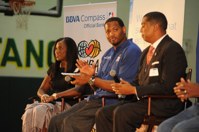 BBVA Compass East Regional Retail Executive Rosilyn Houston, NBA legend Robert Horry and Birmingham City Council Member Jay Roberson field questions from students at Birmingham's P.D. Jackson-Olin High School during Thursday's BBVA Compass NBA Cares event.  (PRNewsFoto/BBVA Compass)