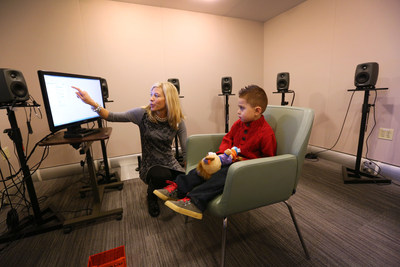 Dr. Christine Jones, Director of Pediatric Clinical Research at the new Phonak US Audiology Research Center (PARC) conducts hearing testing on a three year-old patient as part of a bigger clinical study being conducted at the PARC on Thursday, December 18, 2014 at Phonak headquarters in Warrenville, Ill. Phonak is renowned for its long history in providing pediatric hearing solutions and wireless communication products for every age.The PARC is a new and important asset in helping to drive innovation...