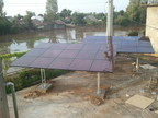Set up solar pump system for clean water projects in Mekong Delta of Grundfos.