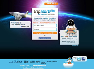 "Travelers can enter to win the ""Free Epic Journey Into Space"" by joining the TripAlertz community in 10 seconds at http://www.tripalertz.com/space."