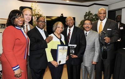 Jerry Flannery, executive vice president and general counsel of Hyundai Motor America, Pamela J. Meanes, president of the National Bar Association, Mark Ridley-Thomas, Los Angeles County Supervisor, Carol Porter, Fred Gray, legendary civil rights attorney, and Rickey Ivie, senior partner of Ivie, McNeill & Wyatt, pose for a photo during a special reception to honor Fred Gray.