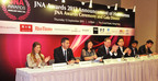 (From left) Helen Molesworth, Managing Director, Academy of Gubelin; Nissim Palomo, CMO of Israel Diamond Institute; Letitia Chow, founder of JNA and Director of Business Development - Jewellery Group at UBM Asia; Wolfram Diener, Senior Vice President of UBM Asia; Peter Suen, Executive Director of Chow Tai Fook Jewellery Group; Smit Virani, Director of KARP Jewellery; Richard Wan of Robert Wan Tahiti.  (PRNewsFoto/UBM Asia Ltd)