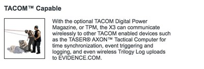 TASER's website from March 27, 2010 for TACOM technology, which allows a TASER device to communicate wirelessly to Axon cameras for time synchronization, event triggering and logging.