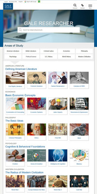 Gale Researcher - homepage featuring all disciplines