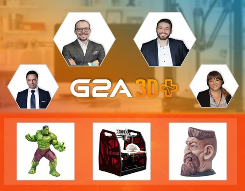 G2A Co-founders Bartosz Skwarczek (CEO) and Dawid Rozek (CMO), Patryk Kadlec, the G2A Head of Business Development and Yao Song, the Chinese Region Manager at G2A announcing G2A 3D+ in Taipei Game Show 2016. (PRNewsFoto/G2A.com) (PRNewsFoto/G2A.com)