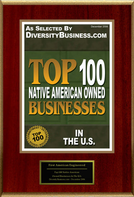 "First American Engineered Solutions, L.L.C. Selected For ""Top 100 Native American Owned Businesses In The U.S.""  (PRNewsFoto/First American Engineered Solutions, L.L.C.)"