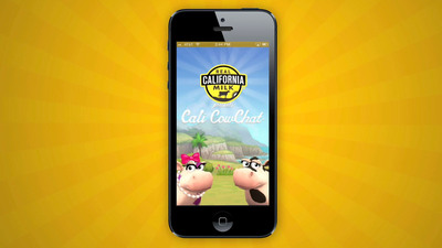 Cali CowChat, a new free mobile app from California Milk Advisory Board gives consumers the ability to create a customized California cow and connect with friends.  (PRNewsFoto/California Milk Advisory Board)