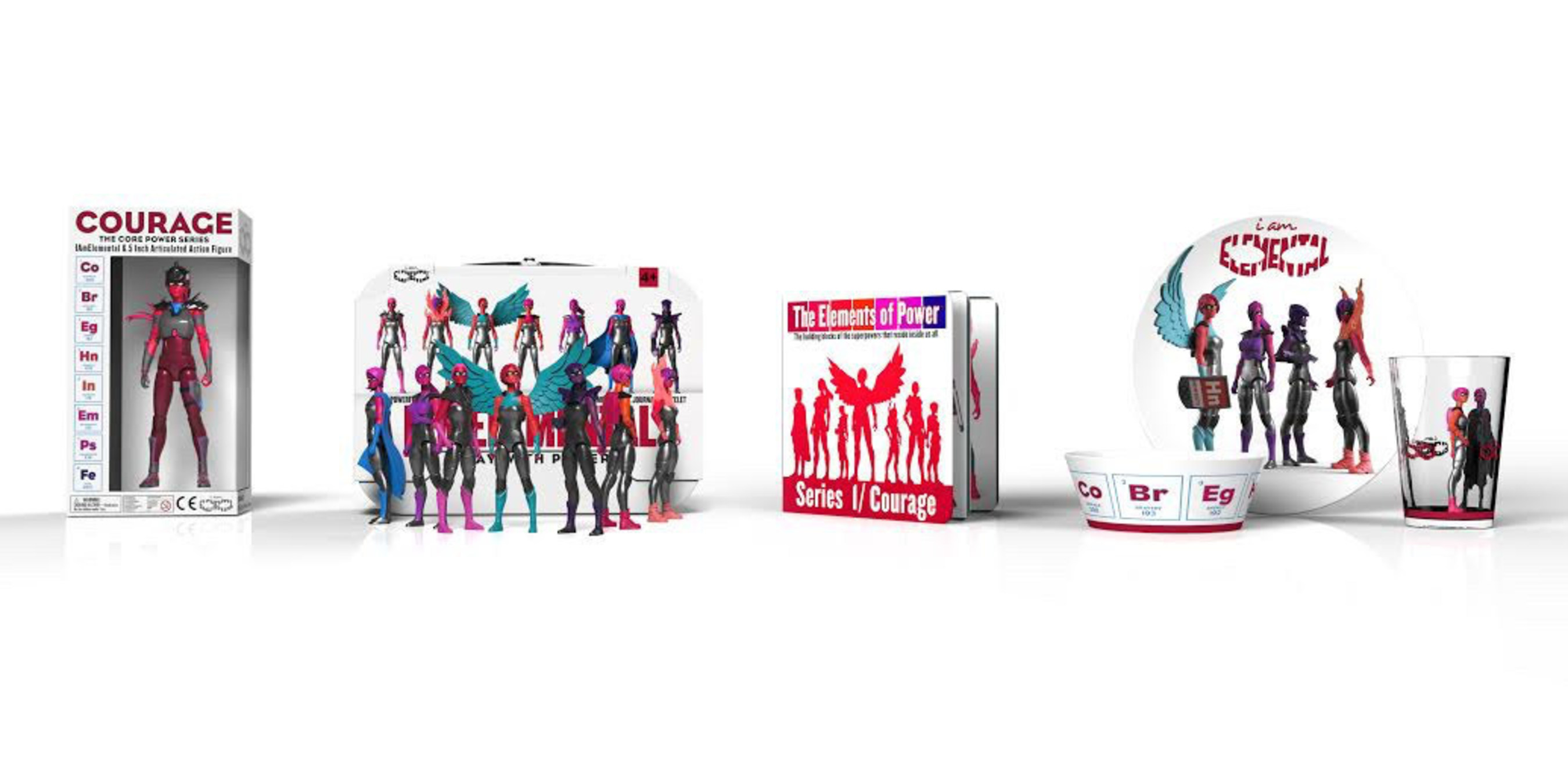 """IAmElemental's product line includes the Courage Core Power Figure, seven Series 1/Courage Female Action Figures, """"The Elements of Power"""" Board Book, and a Three-Piece Tableware Set.  For more information, visit http://www.IAmElemental.com."""