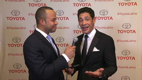 Toyota spokesperson Javier Moreno speaks with celebrity Johnny Lozada at the Latinos in Tech Innovation and ...