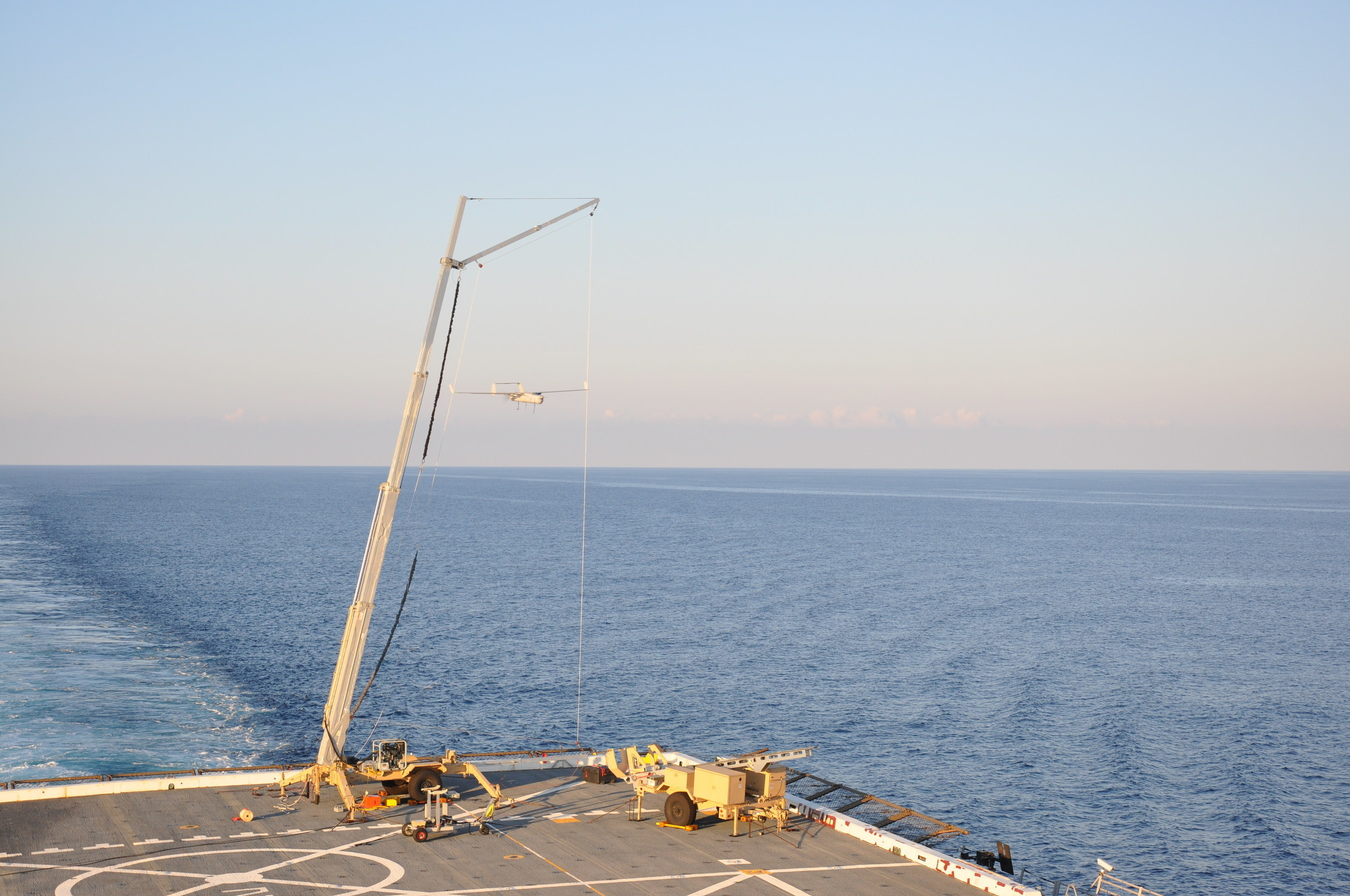 RQ-21A Blackjack recovers aboard the USS Mesa Verde