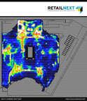 New multi-camera heat maps in RetailNext 4.0 make it possible for retailers to view shopper activity throughout the entire store in a single glance. Here, different colors represent degrees of activity, from white (most) to blue (least).  (PRNewsFoto/RetailNext Inc.)