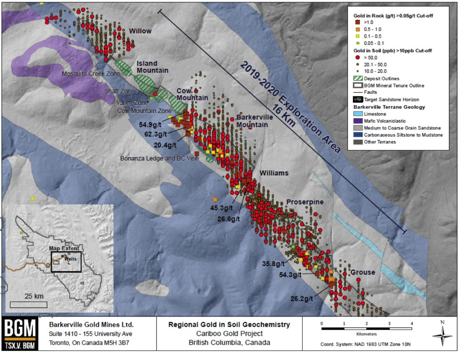 Barkerville Gold Mines Defines Significant Exploration Potential and