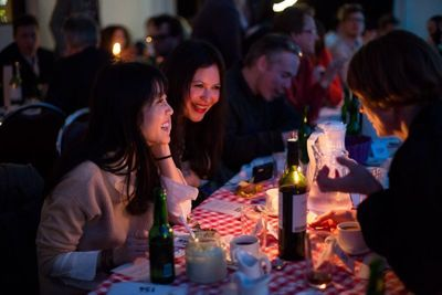 Diners enjoy world's largest supper club in a secret location in Reykjavik's Old Harbor