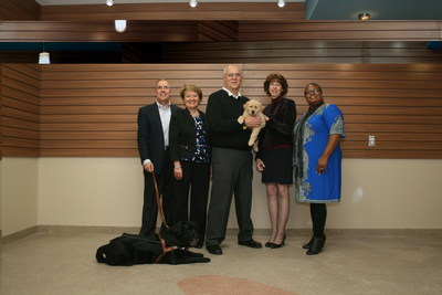 Thomas O'Masta, Leader Dogs for the Blind Board member and Consumers Energy retiree; Carolyn Bloodworth, Secretary/Treasurer of Consumers Energy Foundation; Paul Preketes, Leader Dogs for the Blind Board member and Consumers Energy retiree; Susan Daniels, Leader Dogs for the Blind President and CEO; and Ursula Warren, Consumers Energy Area Manager Southeast Michigan.