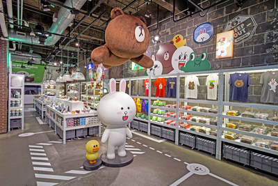 LINE FRIENDS in NEW YORK showcases a full-range of LINE Official products featuring beloved original characters such as Brown, Cony, Moon, James, and more.
