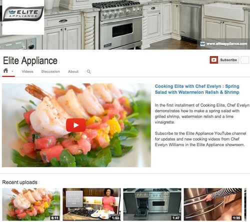 Elite Appliance's YouTube Channel features luxury appliance and cooking related videos, and is viewable at http://www.youtube.com/user/eliteappliance.  (PRNewsFoto/Elite Appliance)