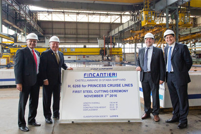 (From left to right) Firouz Mal, Newbuild Project Manager, Keith Taylor, Executive Vice President of Fleet Operations, Elio Autiero, General Manager of Human Resources and Carlo Febbraro, Director of Shipboard Technical Personnel, at the steel cutting ceremony for the new Princess ship.