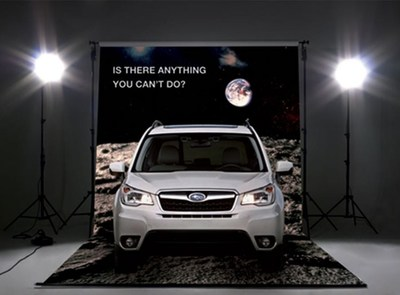 "Mock-up of Subaru SE Asia Forester ""Is There Anything You Can't Do?"" green screen experience. Courtesy of Cibo"
