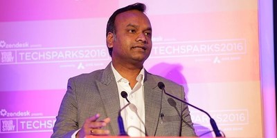 Mr. Priyank Kharge, IT, BT and Tourism Minister of Karnataka Speaking at TechSparks 2016 (PRNewsFoto/Yourstory Media Pvt Ltd)