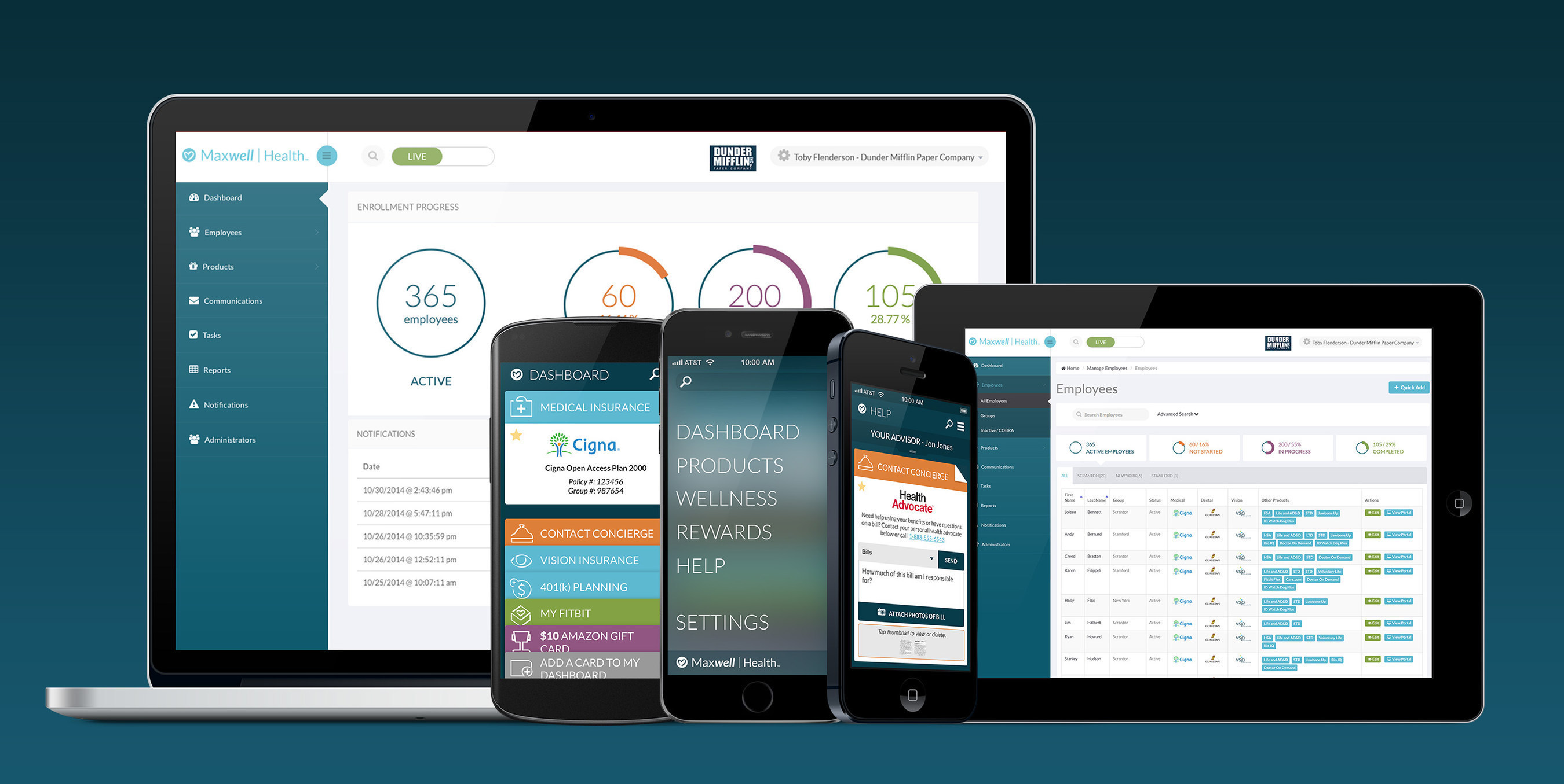 Maxwell Health's platform features a web portal for employers and a beautiful Android and iOS app for their employees.