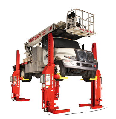 The Rotary Lift Mach series of mobile column lifts provides time- and space-saving benefits for fleet managers. See how it can improve your shop's efficiency at the Rotary Lift booth (#1800) at the APWA International Public Works Congress & Exposition Aug. 25-28 in Chicago. Mobile column lifts can be used throughout the shop and are easy to set up. Rotary Lift's Mach series features intuitive controls, battery power for increased mobility and a horseshoe wiring system that leaves one end of the lift open at all times for quick vehicle entry and egress.  (PRNewsFoto/Rotary Lift)