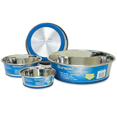 High-quality Durapet(R) Stainless Steel pet bowls feature the patented bonded rubber ring.  (PRNewsFoto/OurPet's Company)