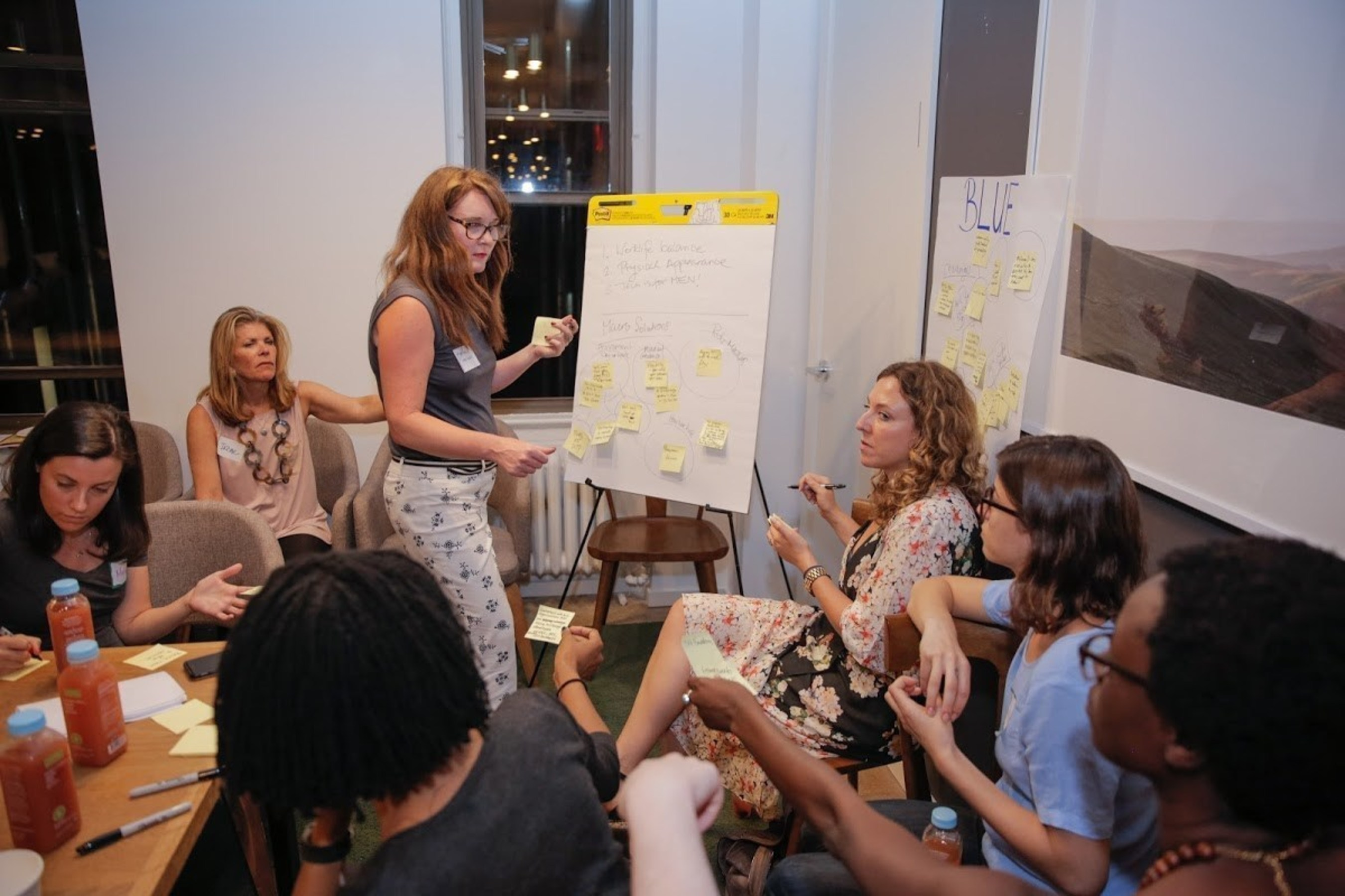 """A breakout """"huddle"""" at Hackerati's """"Leaping Up & Over"""" diversity in tech event last week."""