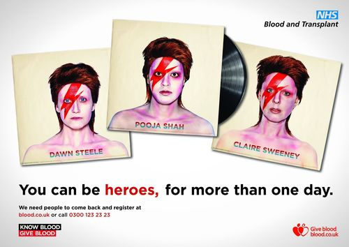 To help halt a decline in regular blood donors NHSBT is appealing for people to 'come back' and register to donate during this year's National Blood Week, with a new poster campaign inspired by 2013's come-back king David Bowie. Actresses Claire Sweeney, Dawn Steele, and Pooja Shah have re-created Bowie's iconic Aladdin Sane album shot to encourage people to 'come back' and register.Each celebrity has a personal connection to blood donation. Claire's brother is alive due to blood transfusions, Dawn received one after the birth of her daughter and Pooja has been a regular donor for years. (PRNewsFoto/NHS BLOOD AND TRANSPLANT (NHSBT))