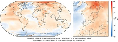 Average surface air temperatures from December 2014 to November 2015, expressed as the difference from the average for 1981 - 2010 (PRNewsFoto/Copernicus)