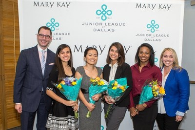 Crayton Webb, Vice President of Corporate Social Responsibility and Corporate Communications for Mary Kay Inc., far left, and Junior League of Dallas President Meredith Mosley, far right, stand with the recipients of the 2016 Women LEAD (Learn. Excel. Achieve. Dream) Scholarship Program sponsored by Mary Kay Inc. From left to right, Renee Moreno, Anjana Ghaley and Yoga Karki each received a one-time scholarship of $5,000 and Gianni Alexander received a one-time scholarship of $10,000. The four recipients were selected from 10 finalists from three Dallas high schools in the third annual program helping future leaders pursue higher education.