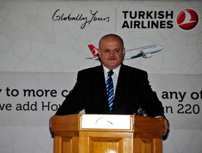 "Turkish Airlines Chairman of the Board Hamdi Topcu in Houston celebrates the inaugural flight mentioning how this direct route will add value to both Houston and Istanbul.  He adds ""We are the airline that flies to the most countries in the world from Istanbul, the city that has been the capital of three empires.  We fly to 220 destinations around the world from Istanbul which is now connected to Houston in 13 hours.""  (PRNewsFoto/Houston Airport System)"
