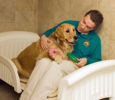 Canine cuddletime at Best Friends Pet Care: clients customize pets' boarding stay with group play, bedtime stories and even ice cream treats. Best Friends, which pioneered the pets hotel industry, celebrates its 20th anniversary this year.  (PRNewsFoto/Best Friends Pet Care Inc.)