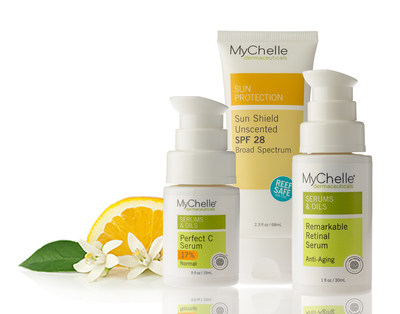 The MyChelle Beauty Key 3 (BK3), an essential daily trio of Vitamin A, Vitamin C, and mineral-based sun care products developed to perfect, correct, and protect all skin types. The Perfect C Serum and Remarkable Retinal Serum are EWG Verified(TM) and its Sun Shield Unscented SPF 28 is featured in the non-profit's annual Guide to Sunscreens. Discover all BK3 products at MyChelle.com, Ulta.com, select Ulta stores, and Whole Foods Markets.