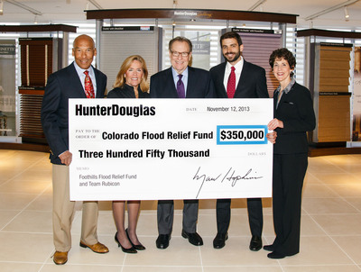 Hunter Douglas announced that it has donated a total of $350,000 to two nonprofits - the Foothills Flood Relief Fund, initiated by Foothills United Way, and Team Rubicon, a veteran service organization - to help relieve the suffering and aid the recovery of those most in need following the sustained and historic catastrophic flooding in Colorado.  Marv Hopkins, Hunter Douglas President and CEO, presented the check to Mimi Vilord, President and CEO, United Way of Rockland County, N.Y., and Team Rubicon Co-Founder William McNulty. From left to right, Gordon Khan, Hunter Douglas SVP and CFO; Mimi Vilord; Marv Hopkins; William McNulty; and Mindy Fabrikant, Hunter Douglas VP of Corporate Human Resources.  (PRNewsFoto/Hunter Douglas)