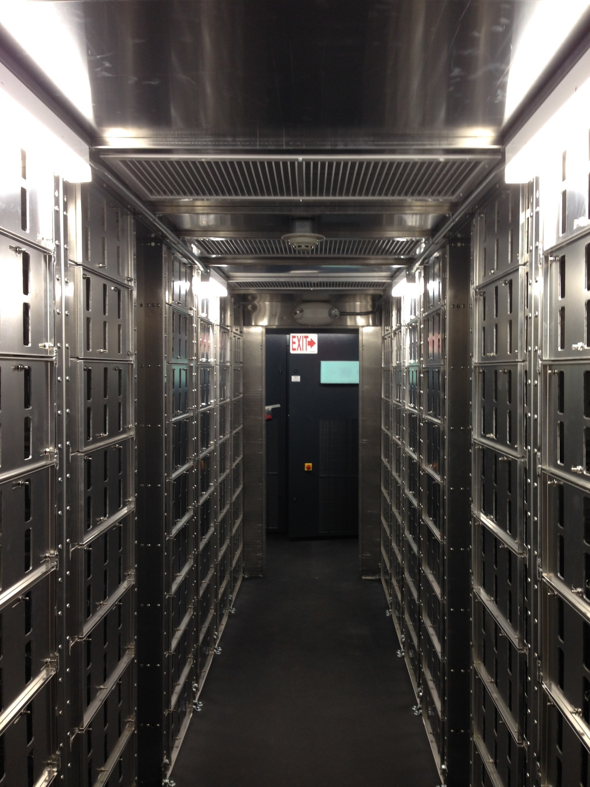 Inside the Willey battery storage container in Hamilton County, Ohio.