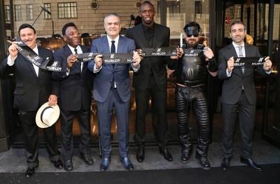Hublot Opening Ceremony - Carlito Fuente, Pele, Ricardo Guadalupe (CEO of Hublot), Usain Bolt, Peter Marino and Jean-François Sberro (General Manager of Hublot America)